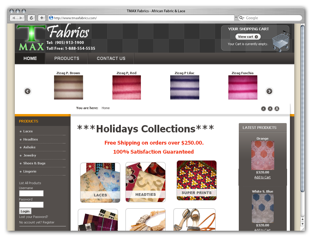TMAX Fabrics Website by Phenom Design Studio
